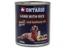 ONTARIO konzerva Lamb, Rice, Sunflower Oil 800g