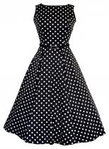 LADY VINTAGE RETRO Hepburn Black White Polka Dot