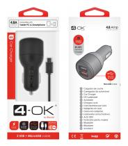 4-OK CL ADAPTÉR 4.8A POWER NA 2x USB + DATOVÝ KABEL MICRO USB
