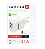 SWISSTEN SÍŤOVÝ ADAPTÉR SMART IC 2x USB 3,1A POWER