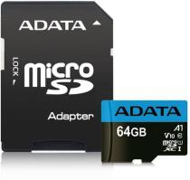 Adata MicroSDHC 64GB UHS-I 85/20MB/s + ad (AUSDX64GUICL10A1-RA1)