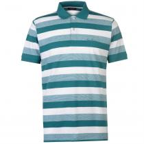 Pierre Cardin Pierre Cardin Trio Colour Striped Polo Shirt Mens, Teal, S