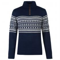 Pierre Cardin Pierre Cardin Quarter Zip Fair Isle Knit Mens, Navy, XXL
