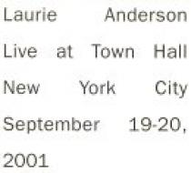Anderson, Laurie: Live In New York